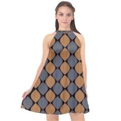 Abstract Seamless Pattern Halter Neckline Chiffon Dress  by Jojostore