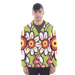 Flowers Fabrics Floral Design Hooded Windbreaker (men) by Sapixe