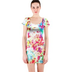 Pattern Decorated Schoolbus Tie Dye Short Sleeve Bodycon Dress