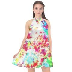 Pattern Decorated Schoolbus Tie Dye Halter Neckline Chiffon Dress