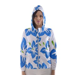Hibiscus Wallpaper Flowers Floral Hooded Windbreaker (women) by Sapixe