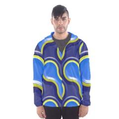 Pattern Curve Design Seamless Hooded Windbreaker (men) by Sapixe