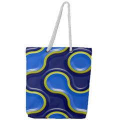 Pattern Curve Design Seamless Full Print Rope Handle Tote (large) by Sapixe