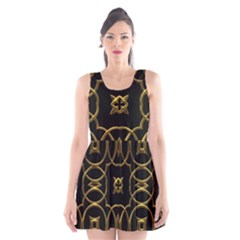 Seamless Pattern Abstract Scoop Neck Skater Dress by Sapixe