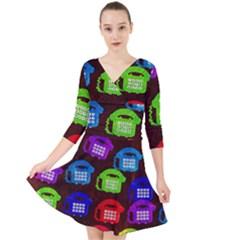 Grunge Telephone Background Pattern Quarter Sleeve Front Wrap Dress by Jojostore