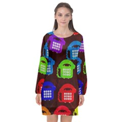 Grunge Telephone Background Pattern Long Sleeve Chiffon Shift Dress