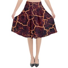 Lava Cracked Background Fire Flared Midi Skirt by Sapixe