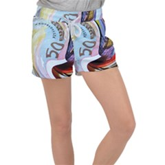 Abstract Currency Background Women s Velour Lounge Shorts by Jojostore