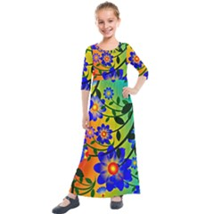 Abstract Background Backdrop Design Kids  Quarter Sleeve Maxi Dress by Jojostore