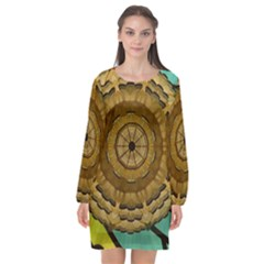 Kaleidoscope Dream Illusion Long Sleeve Chiffon Shift Dress