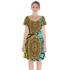 Kaleidoscope Dream Illusion Short Sleeve Bardot Dress