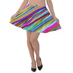 Multi Color Tangled Ribbons Background Wallpaper Velvet Skater Skirt