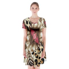 Animal Tissue And Flowers Short Sleeve V Neck Flare Dress by Jojostore