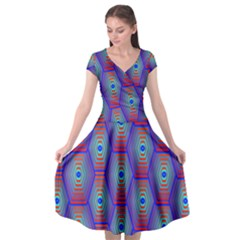Red Blue Bee Hive Pattern Cap Sleeve Wrap Front Dress