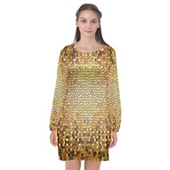 Yellow And Black Stained Glass Effect Long Sleeve Chiffon Shift Dress  by Jojostore