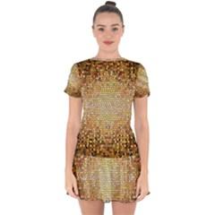Yellow And Black Stained Glass Effect Drop Hem Mini Chiffon Dress