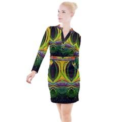 Future Abstract Desktop Wallpaper Button Long Sleeve Dress