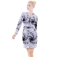 Fractal Black Spiral On White Button Long Sleeve Dress by Jojostore