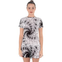 Fractal Black Spiral On White Drop Hem Mini Chiffon Dress by Jojostore