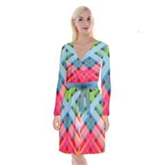 Graphics Colorful Colors Wallpaper Graphic Design Long Sleeve Velvet Front Wrap Dress by Jojostore