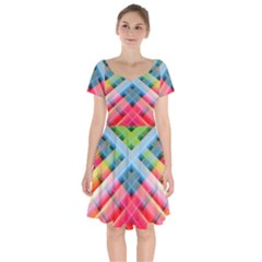 Graphics Colorful Colors Wallpaper Graphic Design Short Sleeve Bardot Dress by Jojostore