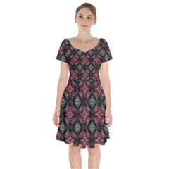 Abstract Black And Red Pattern Short Sleeve Bardot Dress