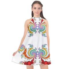 Fractal Kaleidoscope Of A Dragon Head Halter Neckline Chiffon Dress  by Jojostore