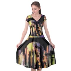 Street Colorful Abstract People Cap Sleeve Wrap Front Dress by Jojostore