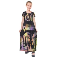 Street Colorful Abstract People Kids  Short Sleeve Maxi Dress by Jojostore