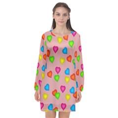 Seamless Tile Background Abstract Long Sleeve Chiffon Shift Dress  by Sapixe