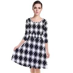 Square Diagonal Pattern Seamless Quarter Sleeve Waist Band Dress by Sapixe