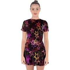 Stars Background Pattern Seamless Drop Hem Mini Chiffon Dress by Sapixe