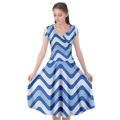 Waves Wavy Lines Pattern Design Cap Sleeve Wrap Front Dress by Sapixe