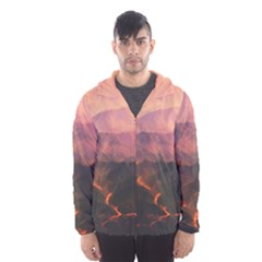 Volcanoes Magma Lava Mountains Hooded Windbreaker (men) by Sapixe