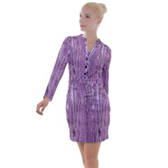 Rustic Wood In Violet Button Long Sleeve Dress by chihuahuadresses