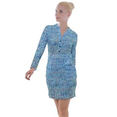 Blue Mermaid Button Long Sleeve Dress by chihuahuadresses