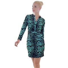 Snakeskin Teal Button Long Sleeve Dress by chihuahuadresses