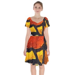 Colorful Glass Mosaic Art And Abstract Wall Background Short Sleeve Bardot Dress by Jojostore
