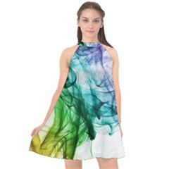 Colour Smoke Rainbow Color Design Halter Neckline Chiffon Dress  by Jojostore