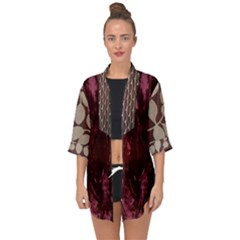 Wordsworth Red Mix 2 Open Front Chiffon Kimono by DeneWestUK