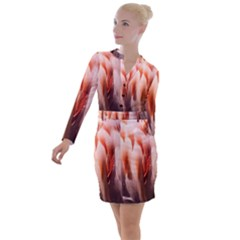 Flamingo Feathers Button Long Sleeve Dress by chihuahuadresses