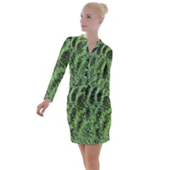 Green Fur Effect Button Long Sleeve Dress by chihuahuadresses
