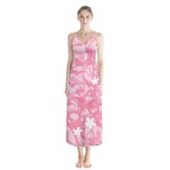 Plant Flowers Bird Spring Button Up Chiffon Maxi Dress by Sapixe