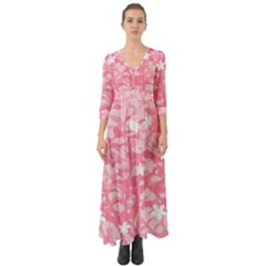Plant Flowers Bird Spring Button Up Boho Maxi Dress by Sapixe