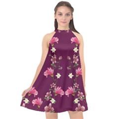 New Motif Design Textile New Design Halter Neckline Chiffon Dress  by Sapixe