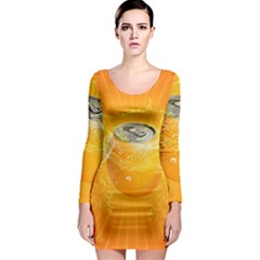 Orange Drink Splash Poster Long Sleeve Bodycon Dress