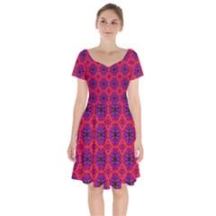 Retro Abstract Boho Unique Short Sleeve Bardot Dress by Sapixe
