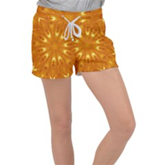 Kaleidoscopic Flower Women s Velour Lounge Shorts by yoursparklingshop