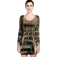 Fractal Image Of Copper Pipes Long Sleeve Bodycon Dress