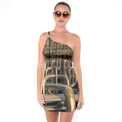 Fractal Image Of Copper Pipes One Soulder Bodycon Dress
